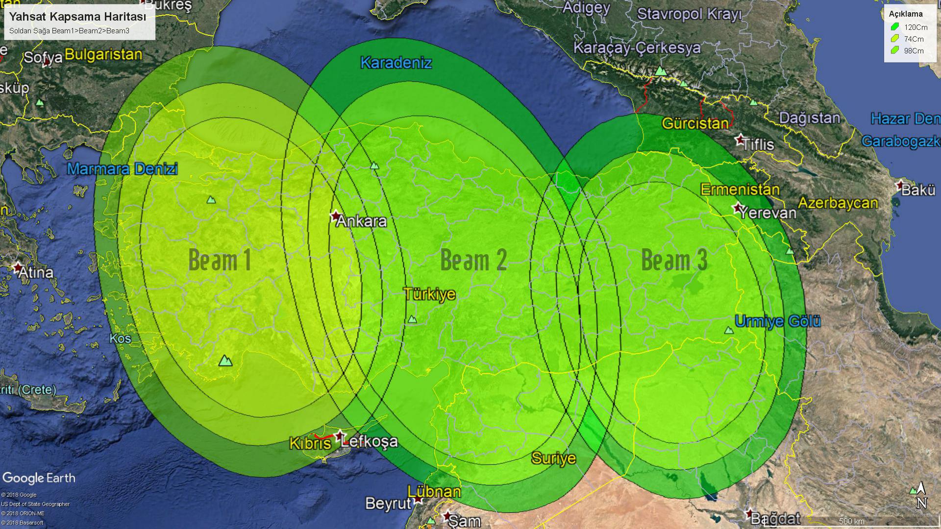 Yahsat Türkiye Kapsama Haritası